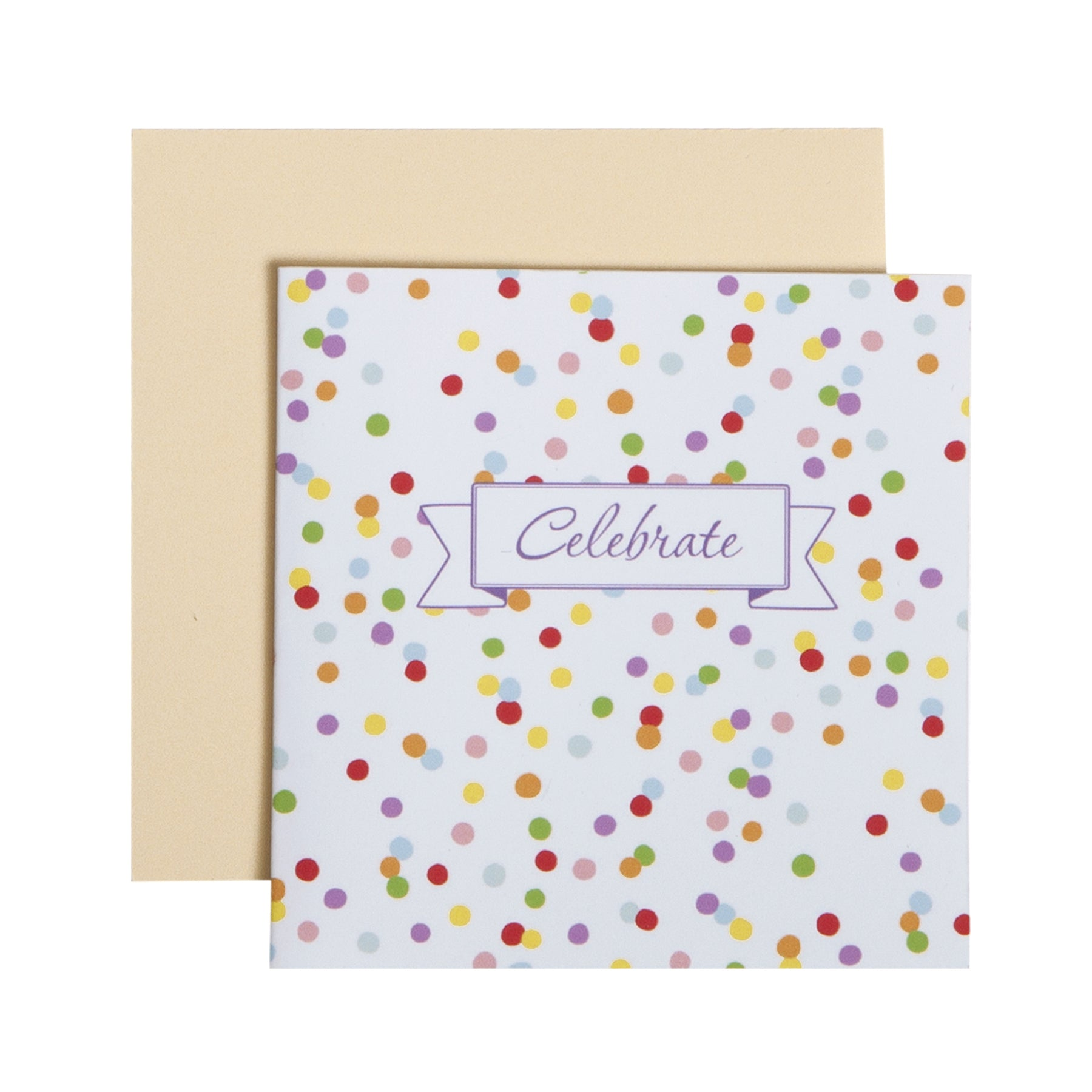 "alt=""Celebrate multicolour confetti gift enclosure card with yellow envelope"""
