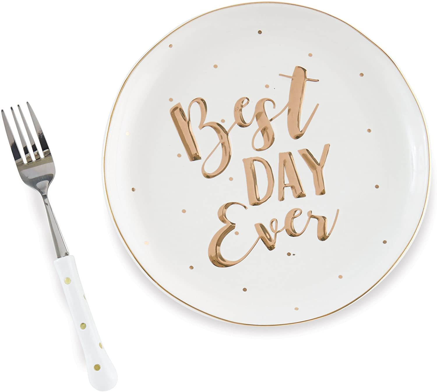 "alt=""Stoneware dessert plate with gold rim, raised gold mini dots and Best Day Ever scripted sentiment"""