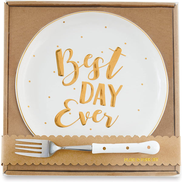 "alt=""Stoneware dessert plate with gold rim, raised gold mini dots and Best Day Ever scripted sentiment gift boxed with coordinating metal fork with poly resin handle"""