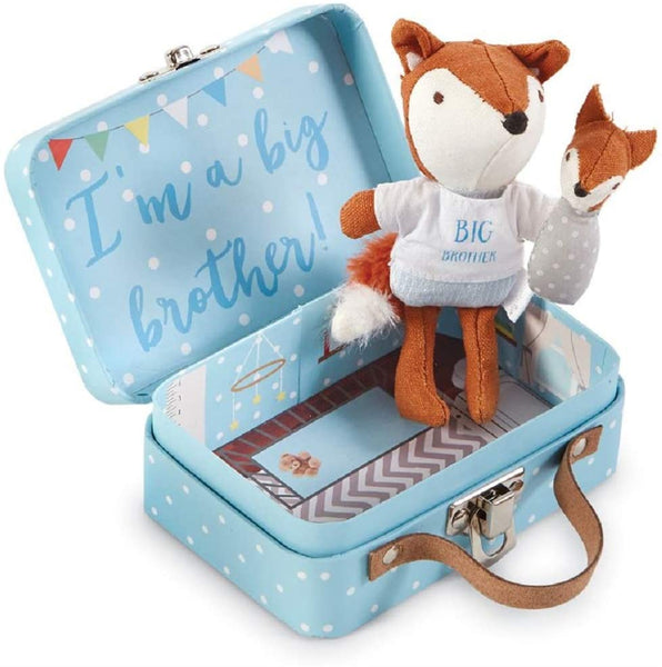 "alt=""Pocket size cotton linen big brother fox features embroidered facial features, poplin tee, linen pants & velour tail, coordinating swaddled baby fox detaches with hook and loop closure in a blue fiberboard suitcase with printed nursery interior and poem on back"""
