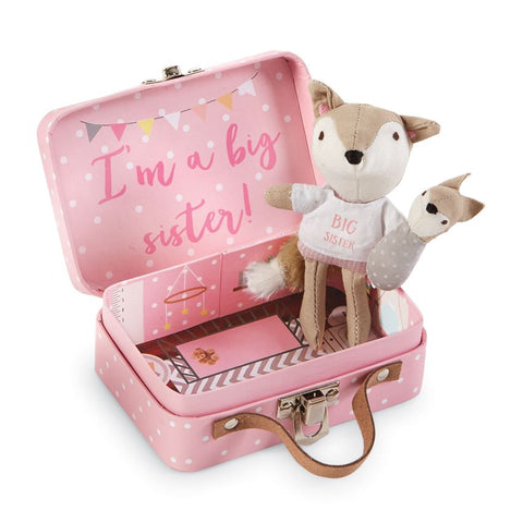 "alt=""Pocket size cotton linen big sister fox features embroidered facial features, poplin tee, linen pants & velour tail, coordinating swaddled baby fox detaches with hook and loop closure in a pink fiberboard suitcase with printed nursery interior and poem on back"""