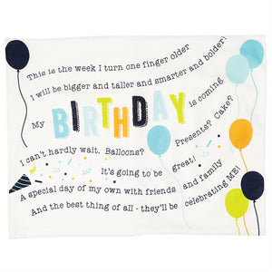 "alt=""Cotton Birthday Boy blue and white pillowcase features printed poem and coordinating balloon artwork on kraft display card with ribbon detail"""