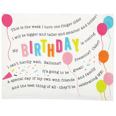 "alt=""Cotton Birthday Girl pink and white pillowcase features printed poem and coordinating balloon artwork on kraft display card with ribbon detail"""