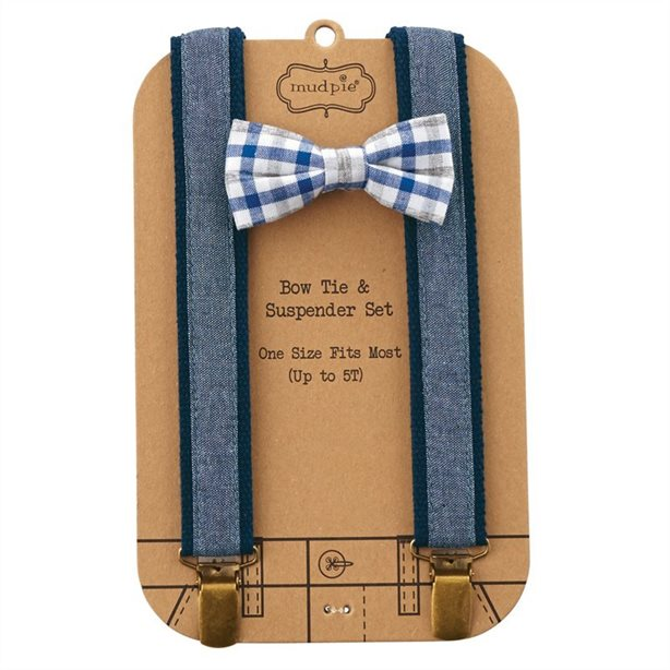 "alt=""Adjustable woven blue and white cotton gingham bow tie with chambray suspenders"""