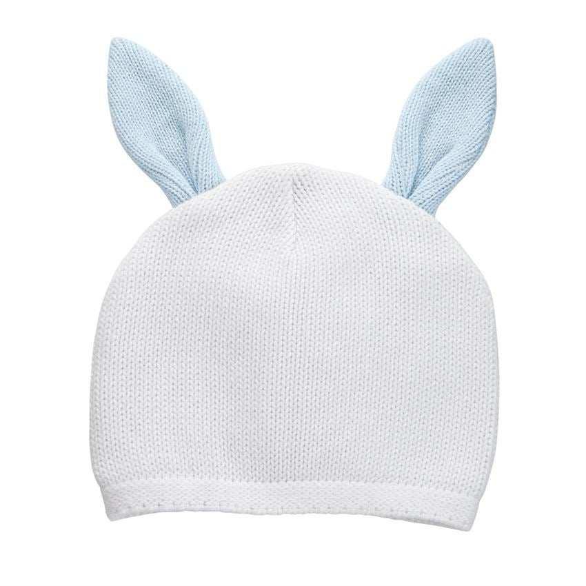 "alt=""White cotton sweater knit hat with blue dimensional contrast bunny ears"""