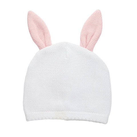 "alt=""White cotton sweater knit hat with pink dimensional contrast bunny ears"""