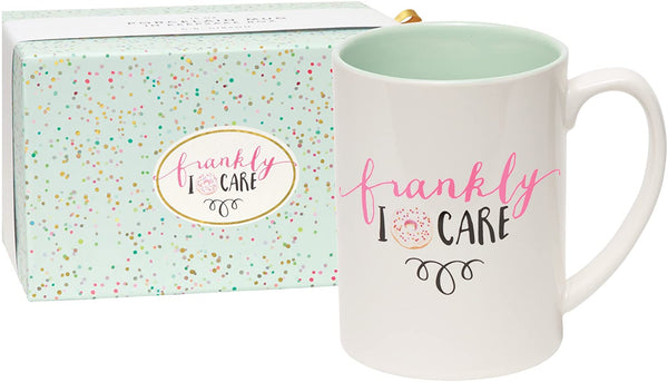 "alt=""White and mint green frankly I donut care mug with donut image"""