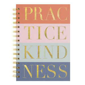 "alt=""This stylish journal has a colourful striped aesthetic with a quote on the cover that reads ""Practice Kindness"" in gold. This inspirational spiral notebook opens flat, contains 160 lined pages and comes with a coordinating gold pen"""