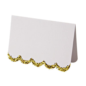"alt=""White place cards with gold glitter and scallop edge"""