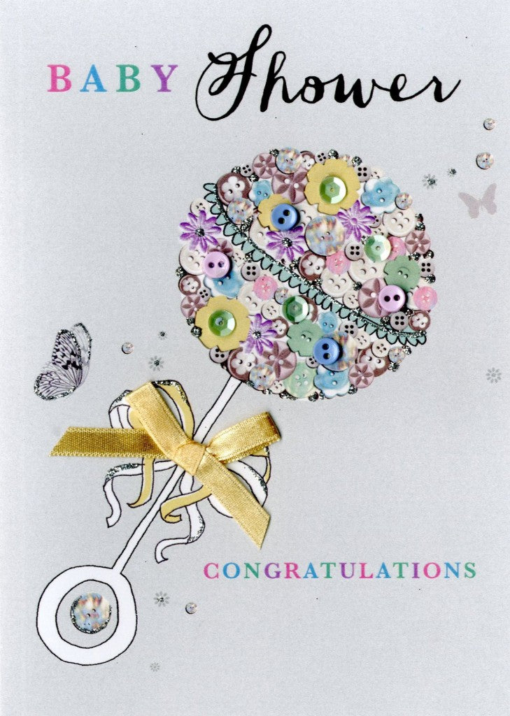 "alt=""Baby Shower Rattle quality hand-finished, multicoloured button, sequin and glitter embellished greeting card sealed in a protective wrapping complete with envelope. Message: Baby Shower Congratulations. Showering you and your little one with love and blessings"""