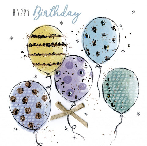 "alt=""Birthday Balloons quality hand-finished, multicoloured glitter embellished greeting card sealed in a protective wrapping complete with envelope. Message: Happy Birthday. Enjoy your special day!"""
