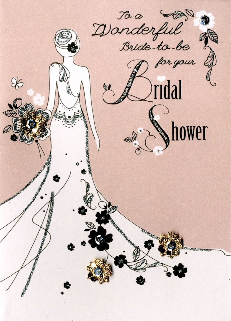 "alt=""Quality hand-finished, glitter embellished Bridal Shower girl greeting card by Second Nature sealed in a protective wrapping complete with envelope"""