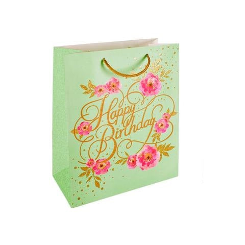 Happy Birthday Peonies Gift Bag Large