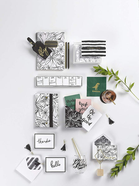 "alt=""Mini flex organic journal set with black and white floral enclosure and pink, white and green journals with sentiments"""