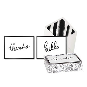 "alt=""Thanks and hello black and white boxed note cards with coordinating envelopes and box"""