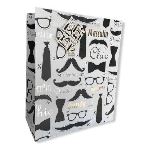 Chic gift bag with silver foil accents and a fun masculine pattern is the perfect packaging solution.
