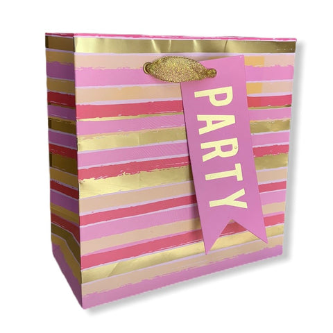 "alt=""Pink and gold petite embellished party gift bag with stripes"""