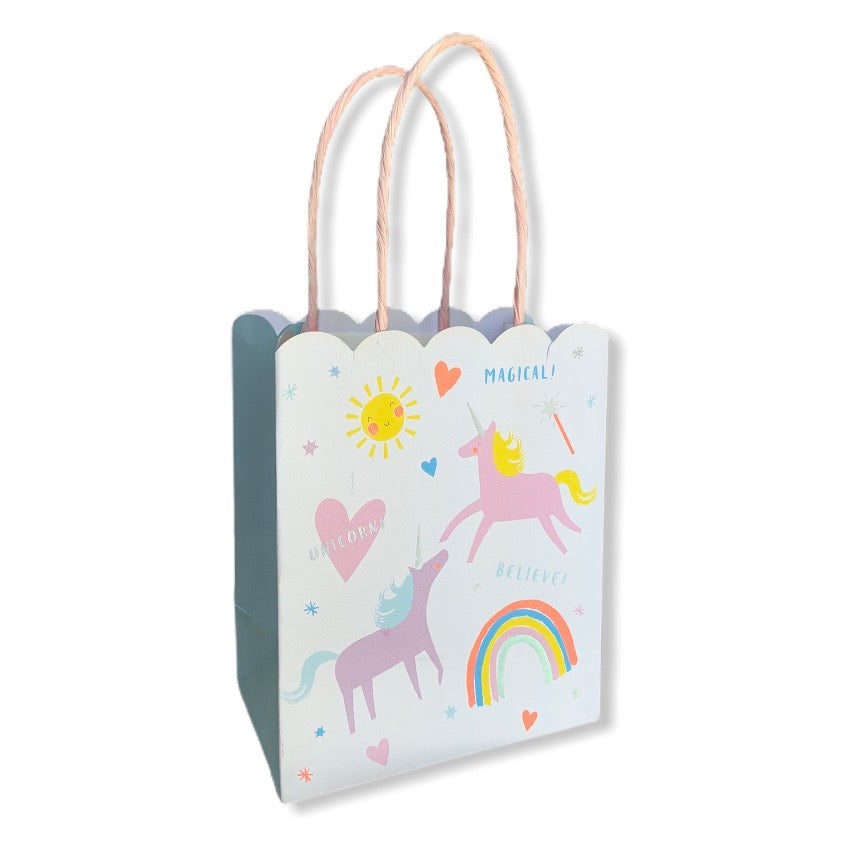 "alt=""Small gift bag with adorable unicorns, colourful hearts, happy suns and neon rainbows"""