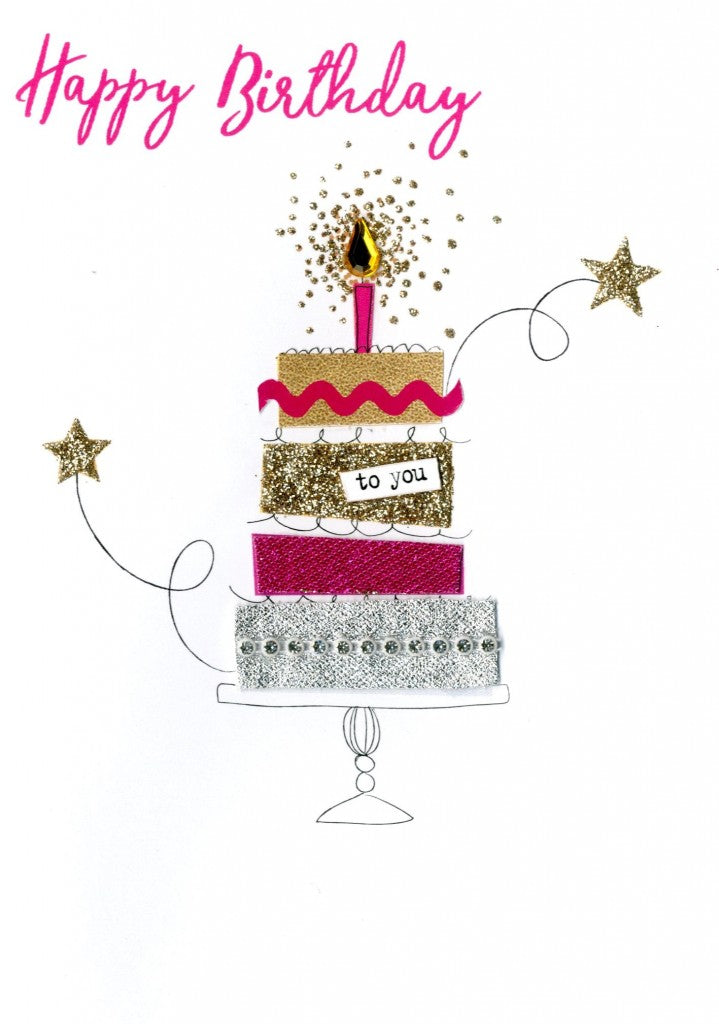 "alt=""Birthday Cake quality hand-finished, pink, gold and silver glitter embellished greeting card sealed in a protective wrapping complete with envelope. Message: Happy Birthday. Wishing you a wonderful day!"""