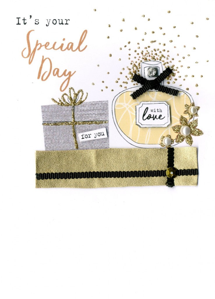 "alt=""Birthday Gifts quality hand-finished, silver and gold glitter embellished greeting card sealed in a protective wrapping complete with envelope. Message: It's your Special Day. Enjoy every moment! Happy Birthday"""
