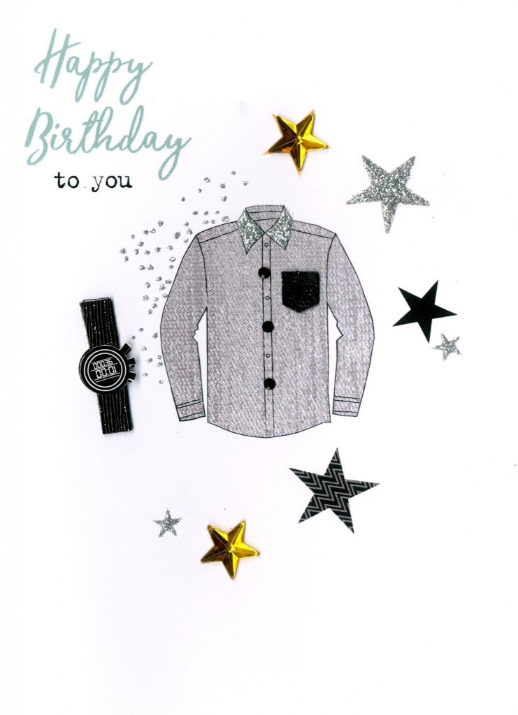 "alt=""Birthday Shirt masculine quality hand-finished, silver glitter embellished greeting card sealed in a protective wrapping complete with envelope. Message: Happy Birthday to you. Celebrate in style!"""