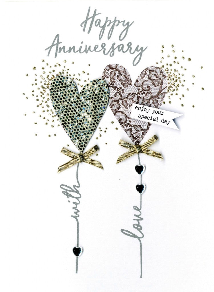 "alt=""Anniversary quality hand-finished, silver and gold glitter embellished greeting card sealed in a protective wrapping complete with envelope. Message: Happy Anniversary enjoy your special day. Congratulations!"""