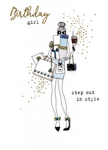 "alt=""Birthday Girl Shopping quality hand-finished, gold glitter embellished greeting card sealed in a protective wrapping complete with envelope. Message: Birthday girl step out in style. Hope your birthday is fabulous in every way!"""