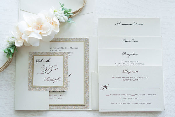 Gabrielle • Elegant Gold Glitter Pocket Fold Wedding Invitation