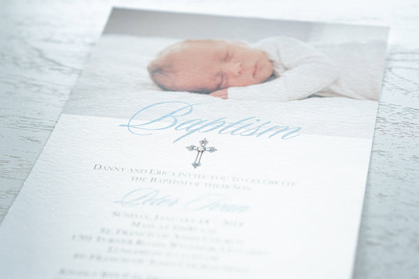 "alt=""Simple and modern baptism invitation with custom photo and elegant cross and jewel detail"""