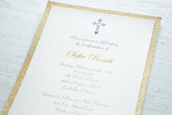 "alt=""Classic Confirmation invitation features an ivory pearlescent shimmer card stock on a gold glitter card stock and an elegant cross and jewel detail"""