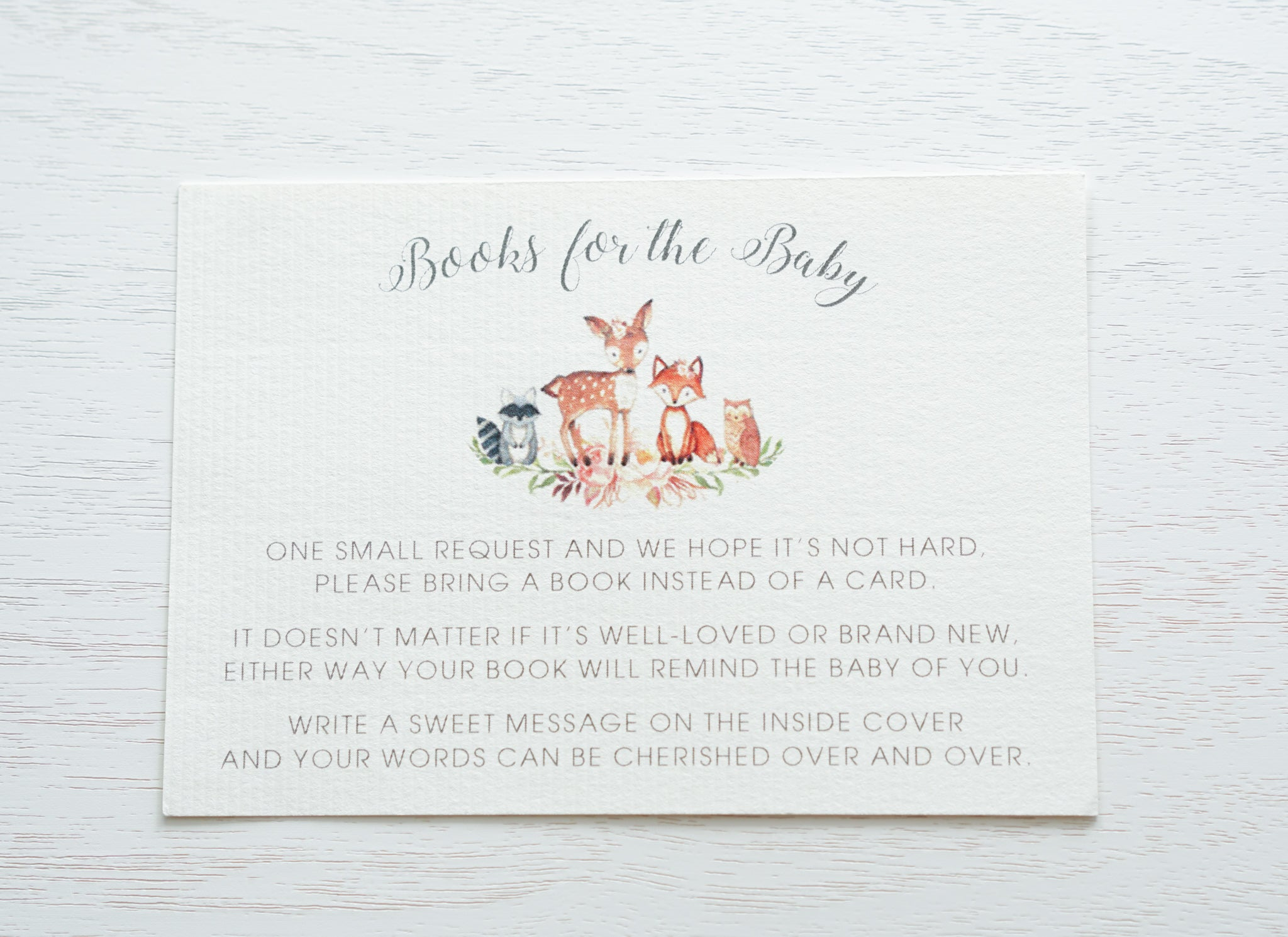 "alt=""Custom insert cards to ask guests to bring books for the new baby instead of a card or to let your guests know your gift registry details. Include with the baby shower invitations you send out. Customized to match your invitation design"""