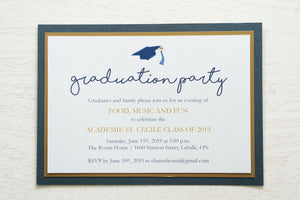 "alt=""Classic graduation party invitation features a white pearlescent shimmer stock on gold leaf and navy blue pearlescent shimmer card stock layers, a blue grad cap and jewel detail and a modern script font"""