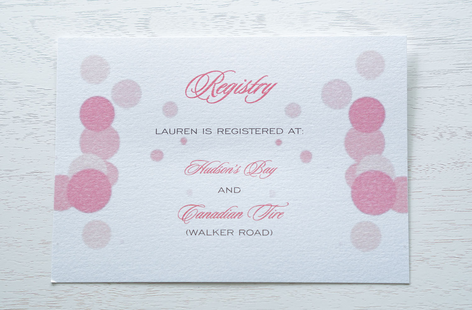 "alt=""Custom insert cards that match your bridal shower invitation to let your guests know your gift registry details"""