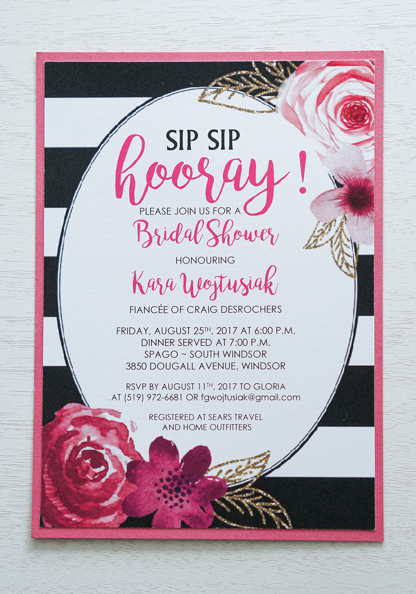 "alt=""Chic striped floral Bridal Shower invitation features a matte white card stock on a bright pink pearlescent shimmer stock, a black and white striped background with oval frame and a watercolour floral and faux glitter leaf design"""