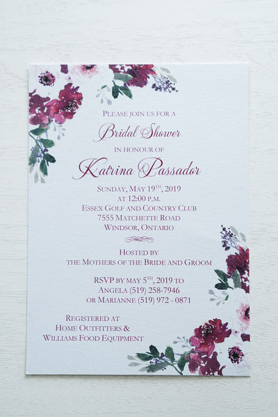 "alt=""Elegant Bridal Shower invitation features a white pearlescent shimmer card stock and a beautiful purple watercolour floral design in corners"""