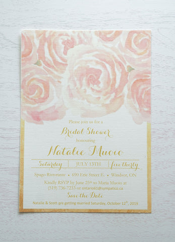 "alt=""Shabby chic Bridal Shower invitation features a matte ivory linen card stock, a pretty blush pink floral design at the top and is finished with a faux gold foil border"""