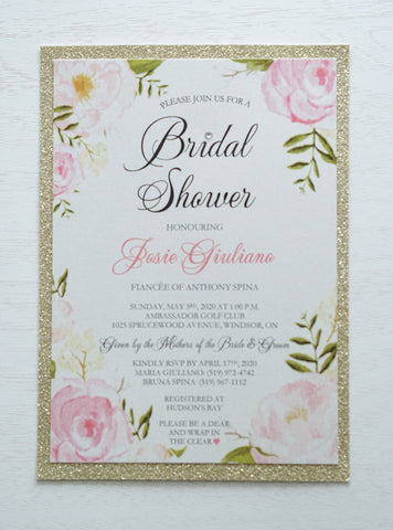 "alt=""Stylish Bridal Shower invitation features a quartz pearlescent shimmer card stock on a gold glitter stock, an elegant pink watercolour floral frame design with a jewel detail to finish it off"""
