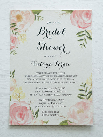 Florals • Elegant Pink Watercolour Baby Shower Invitation