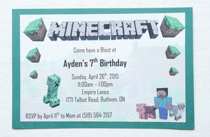 "alt=""Adventure video game invitation features a matte white and green card stock and a Minecraft themed design"""