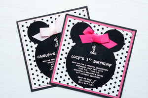 "alt=""Fun Disney inspired birthday party invitation features a matte white stock on light pink or hot pink pearlescent shimmer and matte black card stock layers, Minnie Mouse ears, an elegant jewel age detail, a black polka dot background and is finished off with a rich pink ribbon bow to match"""