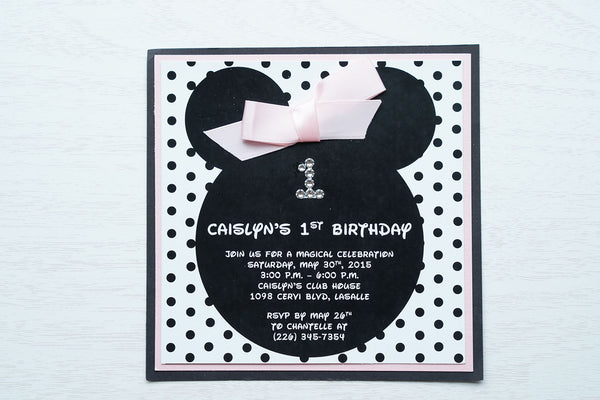 "alt=""Fun Disney inspired birthday party invitation features a matte white stock on light pink pearlescent shimmer and matte black card stock layers, Minnie Mouse ears, an elegant jewel age detail, a black polka dot background and is finished off with a rich pink ribbon bow to match"""