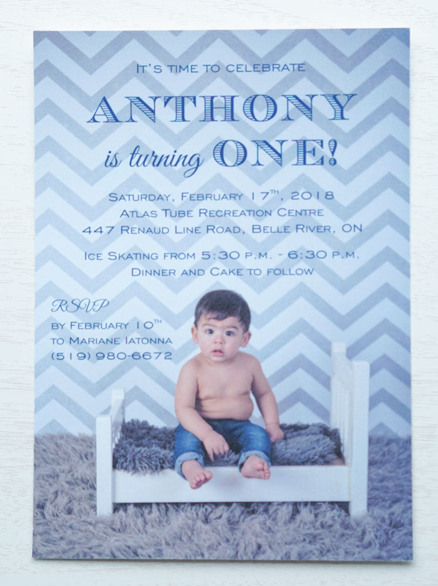 "alt=""Cute first birthday photo invitation features a picture of the honouree and fun fonts on a white matte card stock"""