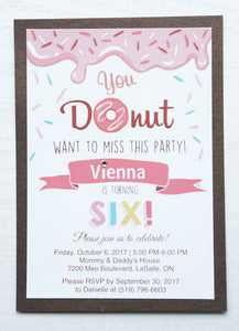 "alt=""Sweet donut birthday party invitation features a matte white stock on a chocolate brown pearlescent shimmer card stock, a donut and sprinkle design and is finished with a jewel detail"""
