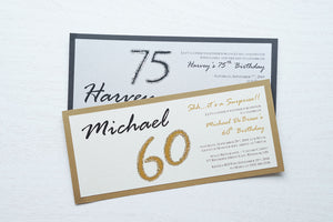 "alt=""Modern and fun tea length birthday invitation features an ivory or silver pearlescent shimmer card stock on a gold pearlescent shimmer or matte black stock, the honouree's name in script and their age highlighted with glitter sparkle"""