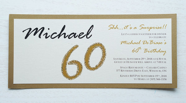 "alt=""Modern and fun tea length birthday invitation features an ivory pearlescent shimmer card stock on a gold pearlescent shimmer stock, the honouree's name in script and their age highlighted with gold glitter sparkle"""