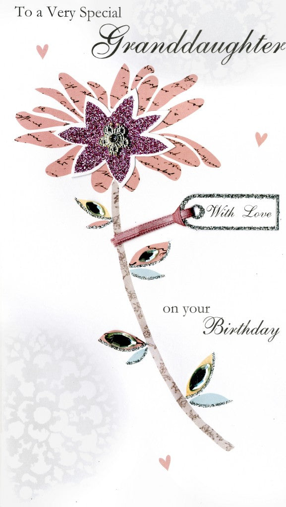 "alt=""Quality hand-finished, glitter embellished granddaughter birthday flower greeting card by Second Nature sealed in a protective wrapping complete with envelope"""