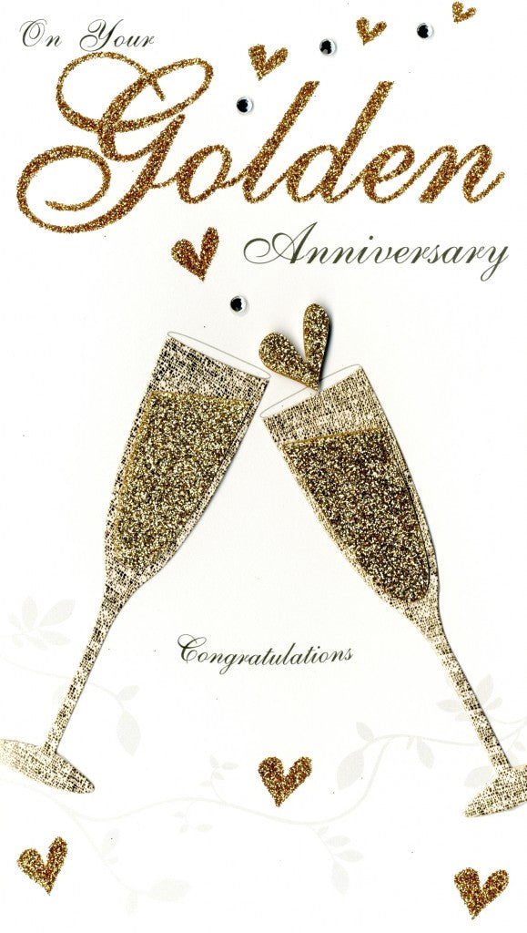 Quality hand-finished, glitter embellished greeting card by Second Nature sealed in a protective wrapping complete with envelope.  Message: On Your Golden Anniversary. Congratulations. Congratulations and best wishes to a very special couple as you celebrate your Golden Anniversary.