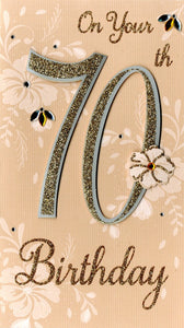"alt=""70th birthday gold quality hand-finished, glitter embellished greeting card sealed in a protective wrapping complete with envelope. Message: On Your 70th Birthday. 70 years young today, so here's to celebrating you! Congratulations"""