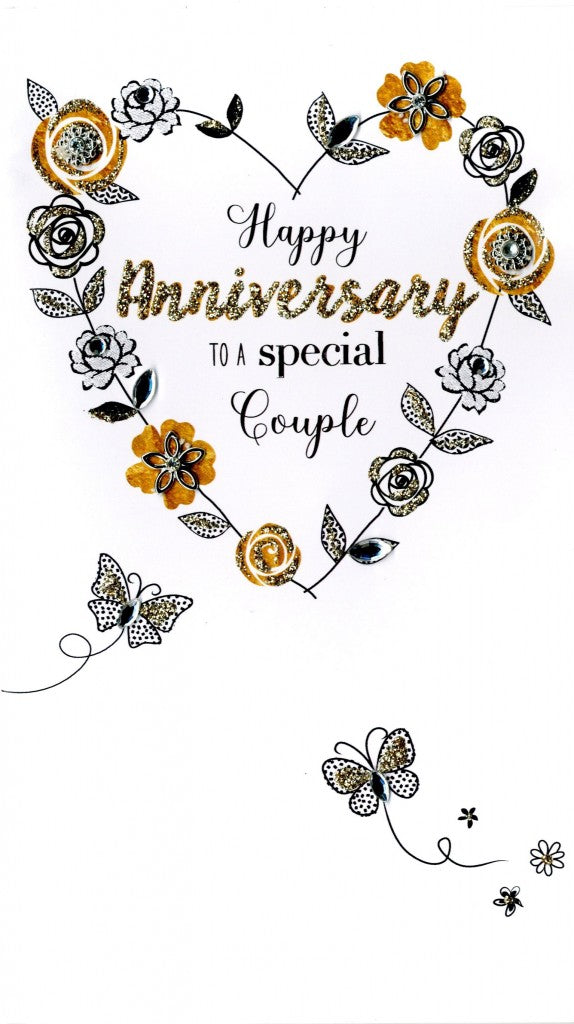 "alt=""Anniversary quality hand-finished, gold glitter embellished greeting card with flowers and butterflies sealed in a protective wrapping complete with envelope. Message: Happy Anniversary to a special Couple. Wishing you many more years of happiness together"""