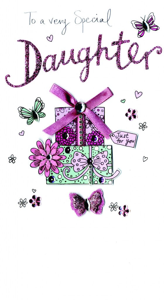Quality hand-finished, glitter embellished greeting card by Second Nature sealed in a protective wrapping complete with envelope.  Message: To a very Special Daughter. Wishing you a day that's so very special, just like you!